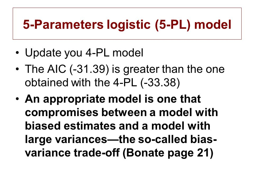 5-Parameters logistic (5-PL) model Update you 4-PL model The AIC (-31.39) is greater than the one obtained with the 4-PL (-33.38) An appropriate model