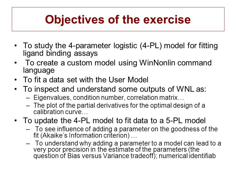 WinNonlin output CV%, univariate confidence interval Correlation Matrix Condition number variance-covariance matrix for the parameters Diagnostic table (AIC, SSE etc)