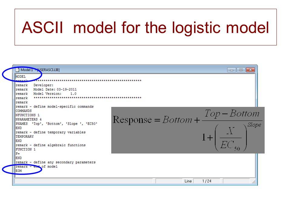 ASCII model for the logistic model