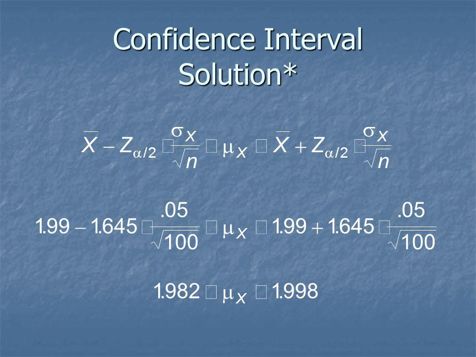 Confidence Interval Solution* XZ n XZ n X X X X X          //........ 22 1991645 05 100 1991645 05 100 19821998