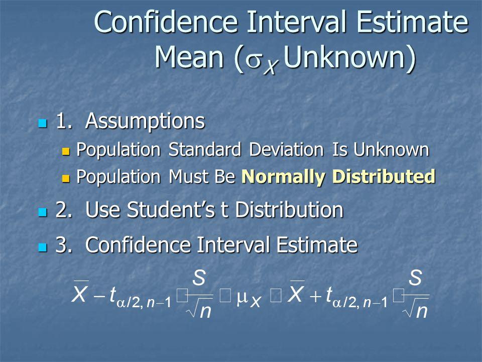 Confidence Interval Estimate Mean (  X Unknown) 1.Assumptions 1.Assumptions Population Standard Deviation Is Unknown Population Standard Deviation Is