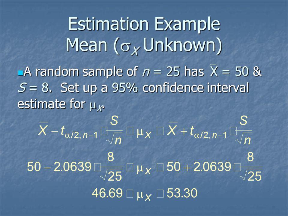 Estimation Example Mean (  X Unknown) A random sample of n = 25 has  X = 50 & S = 8. Set up a 95% confidence interval estimate for  X. A random sam