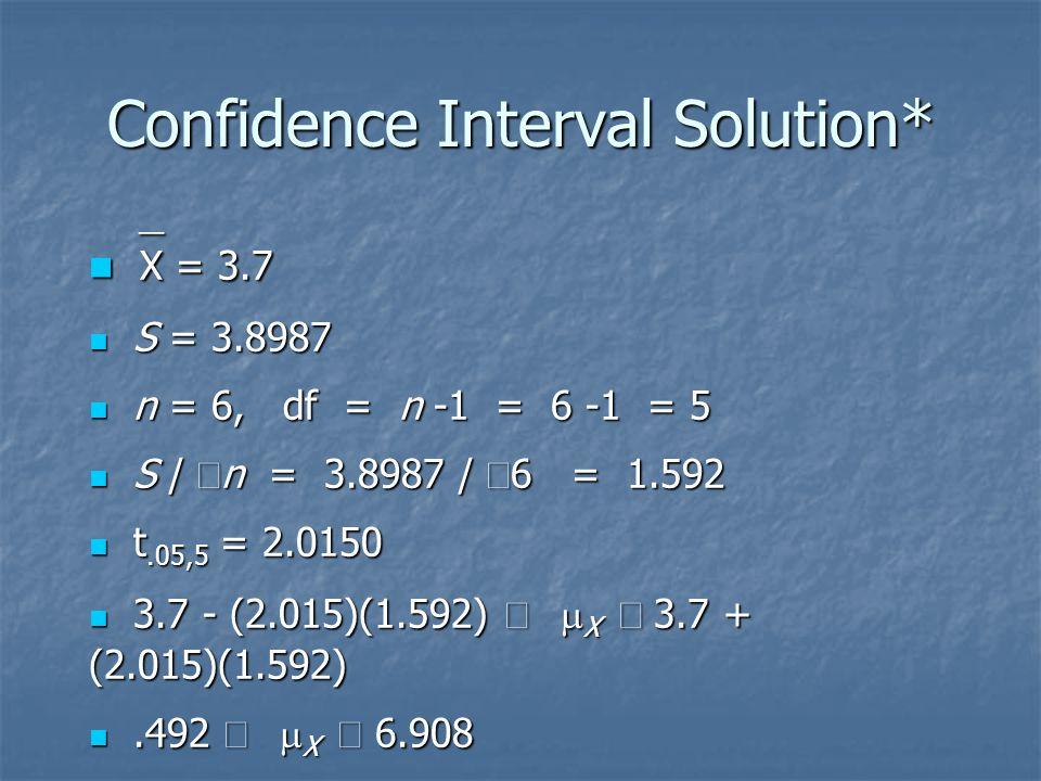 Confidence Interval Solution*  X = 3.7  X = 3.7 S = 3.8987 S = 3.8987 n = 6, df = n -1 = 6 -1 = 5 n = 6, df = n -1 = 6 -1 = 5 S /  n = 3.8987 /  6