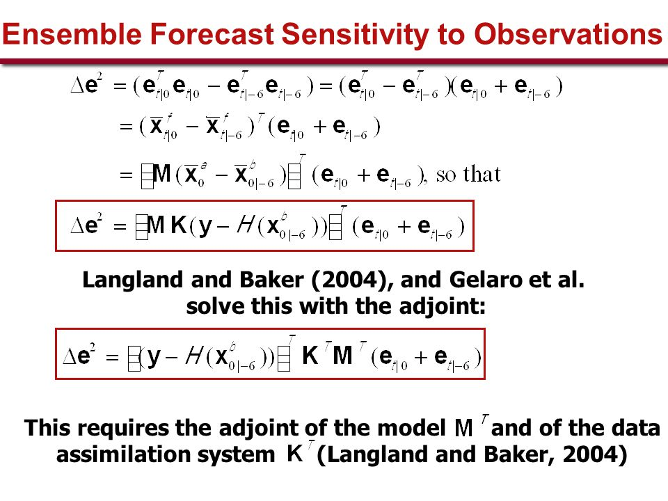 Ensemble Forecast Sensitivity to Observations Langland and Baker (2004), and Gelaro et al.