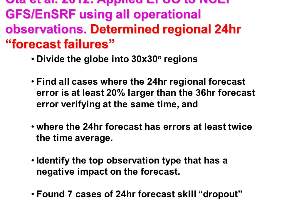 Ota et al. 2012: Applied EFSO to NCEP GFS/EnSRF using all operational observations.