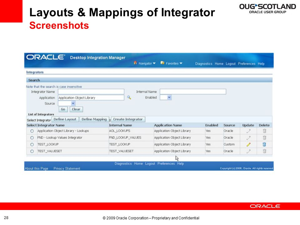 © 2009 Oracle Corporation – Proprietary and Confidential 28 Layouts & Mappings of Integrator Screenshots