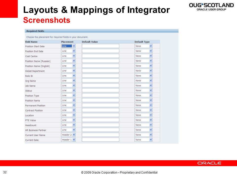 © 2009 Oracle Corporation – Proprietary and Confidential 32 Layouts & Mappings of Integrator Screenshots