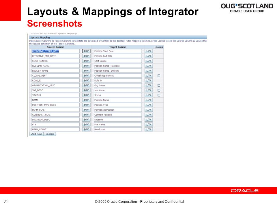 © 2009 Oracle Corporation – Proprietary and Confidential 34 Layouts & Mappings of Integrator Screenshots