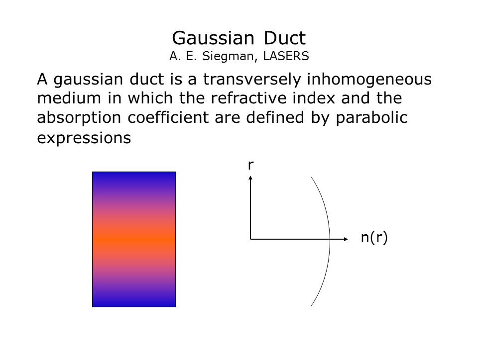 Gaussian Duct A. E. Siegman, LASERS A gaussian duct is a transversely inhomogeneous medium in which the refractive index and the absorption coefficien
