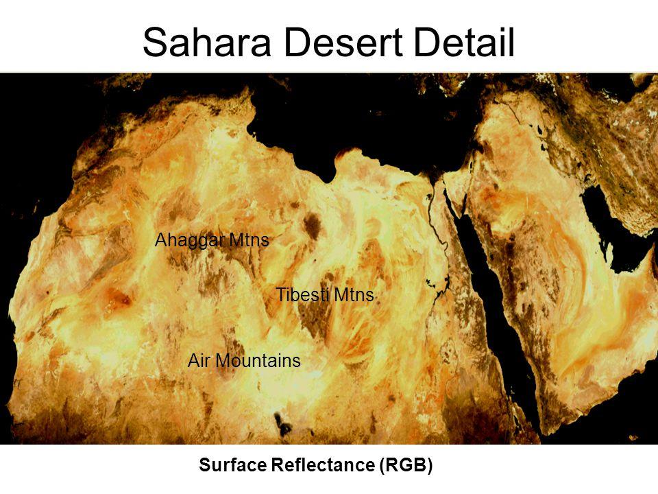 Sahara Desert Detail Surface Reflectance (RGB) Ahaggar Mtns Tibesti Mtns Air Mountains