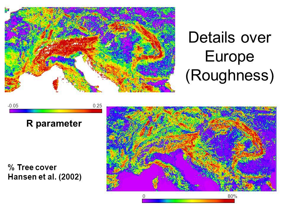 Details over Europe (Roughness) -0.050.25 R parameter 080% % Tree cover Hansen et al. (2002)