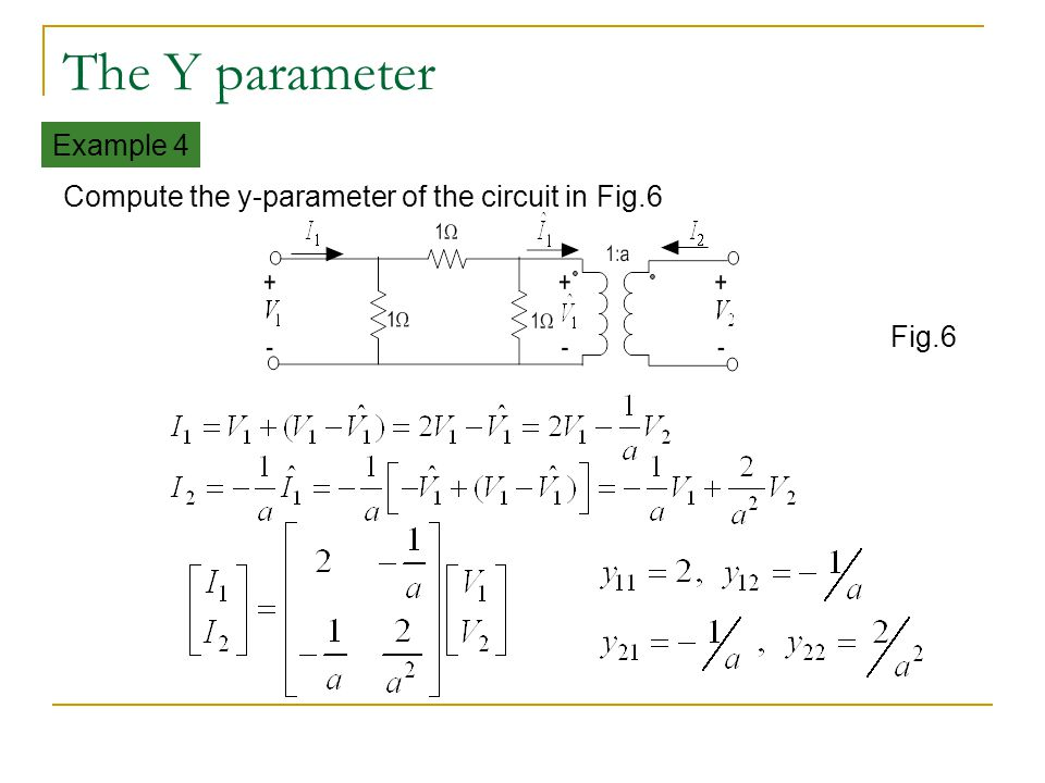 The Y parameter Example 4 Compute the y-parameter of the circuit in Fig.6 Fig.6