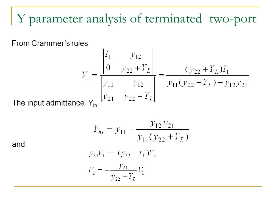Y parameter analysis of terminated two-port From Crammer's rules The input admittance Y in and