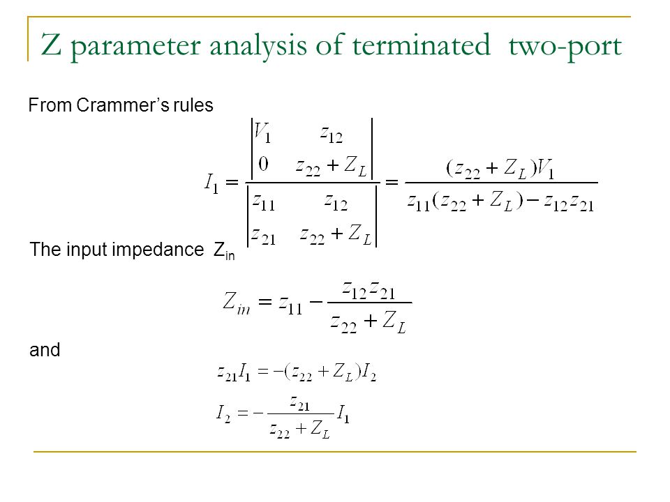 Z parameter analysis of terminated two-port From Crammer's rules The input impedance Z in and