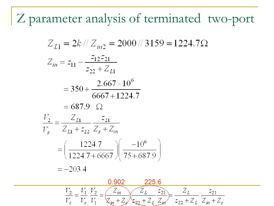 Z parameter analysis of terminated two-port 0.902225.6