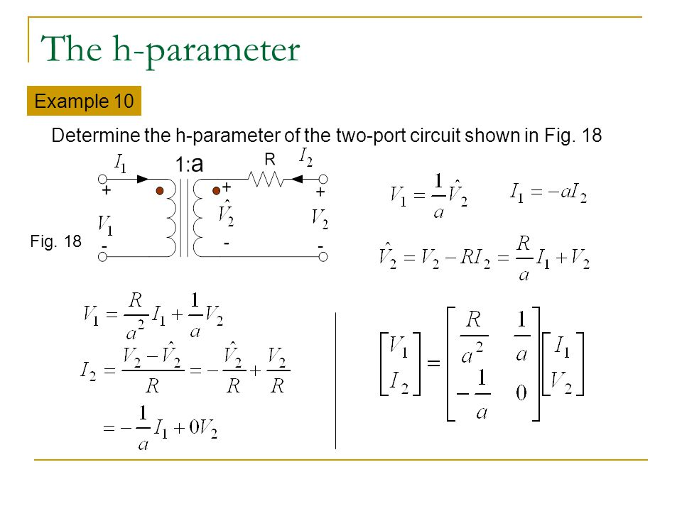 The h-parameter Example 10 Determine the h-parameter of the two-port circuit shown in Fig. 18 Fig. 18