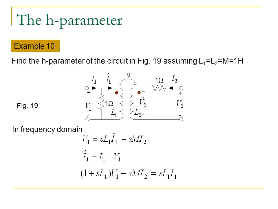 The h-parameter Example 10 Find the h-parameter of the circuit in Fig. 19 assuming L 1 =L 2 =M=1H Fig. 19 In frequency domain