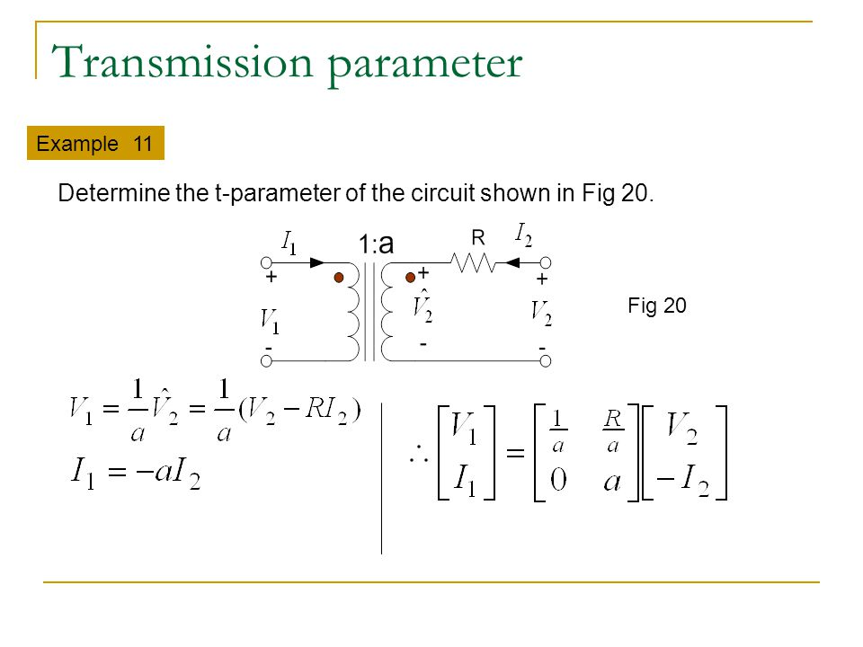 Transmission parameter Example 11 Fig 20 Determine the t-parameter of the circuit shown in Fig 20.