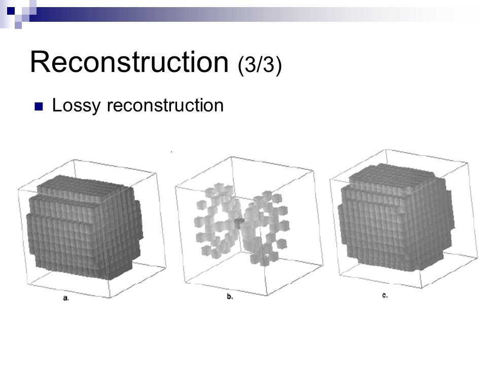 Reconstruction (3/3) Lossy reconstruction