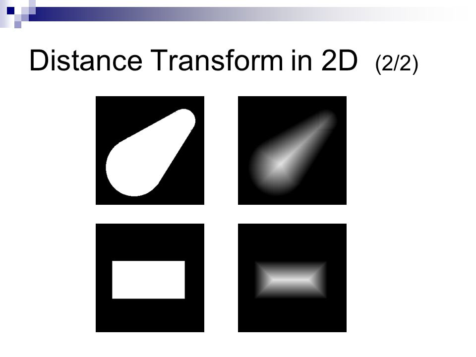 Distance Transform in 3D (1/6) The distance transform at a voxel p = {x,y,z} is defined as  : the distance from voxel(x,y,z) to voxel(i,j,k)  BV : the set of boundary voxels