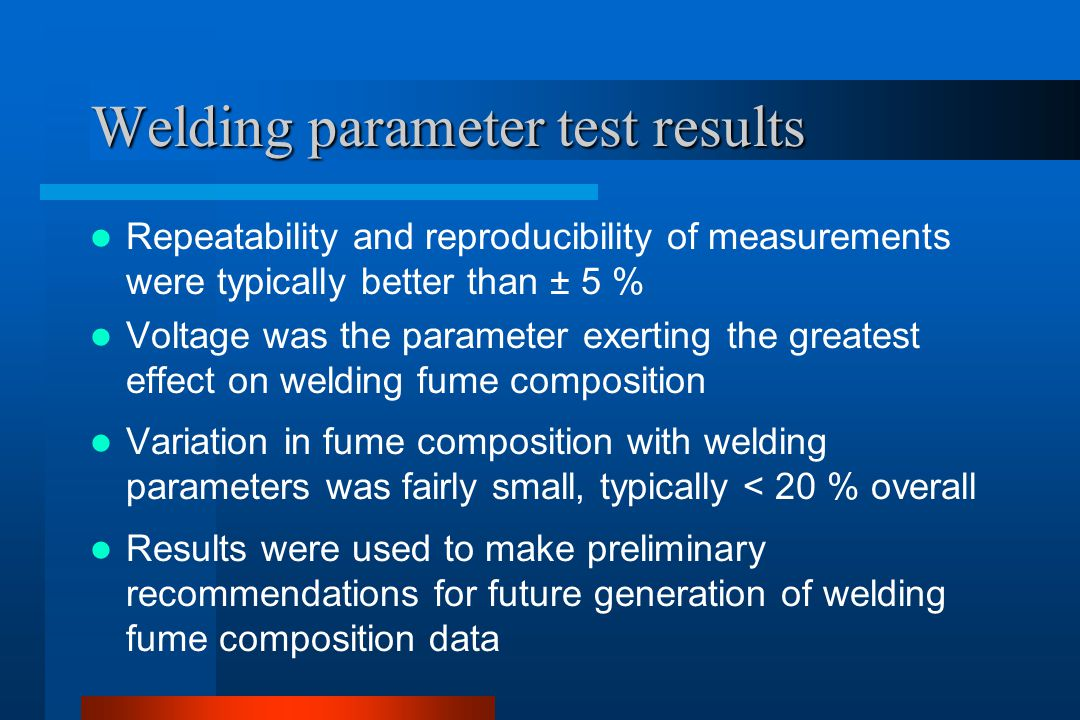 Welding parameter test results Repeatability and reproducibility of measurements were typically better than ± 5 % Voltage was the parameter exerting t