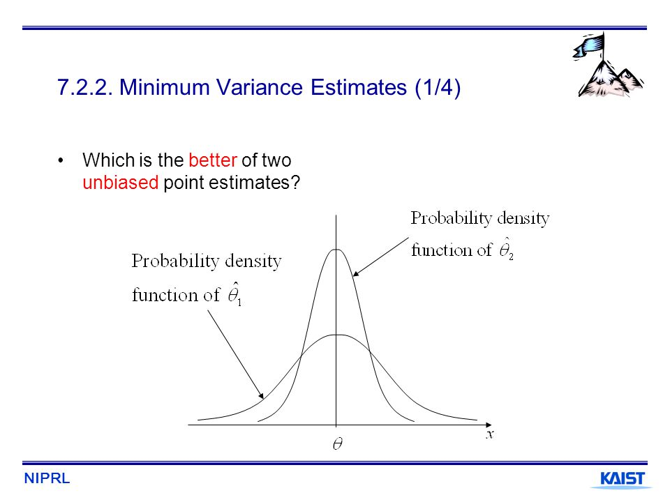 NIPRL 7.2.2. Minimum Variance Estimates (1/4) Which is the better of two unbiased point estimates?