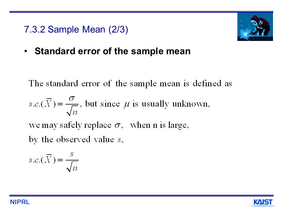 NIPRL 7.3.2 Sample Mean (2/3) Standard error of the sample mean
