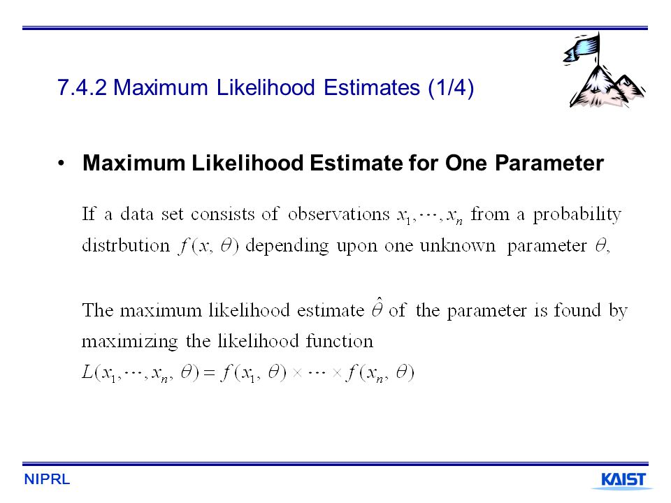 NIPRL 7.4.2 Maximum Likelihood Estimates (1/4) Maximum Likelihood Estimate for One Parameter