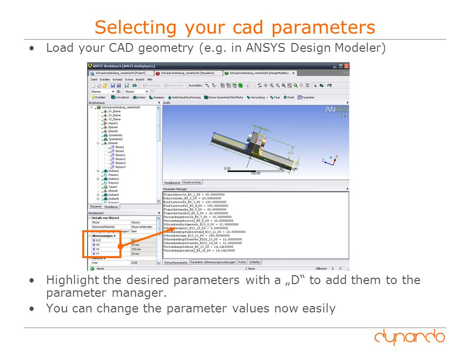 Selecting your cad parameters Load your CAD geometry (e.g.