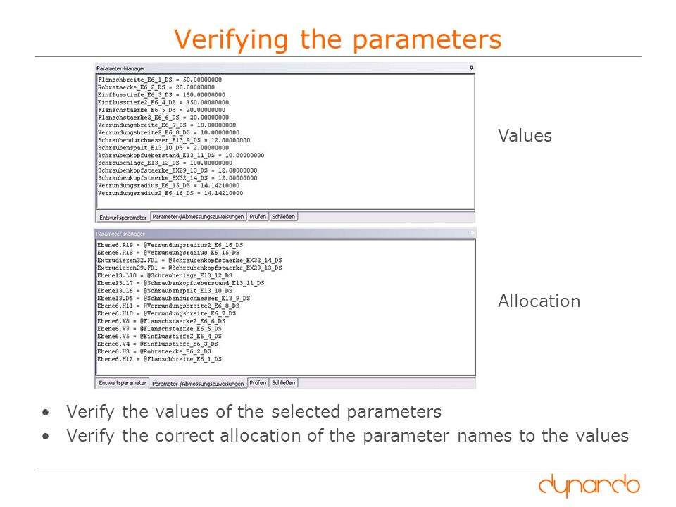 Verifying the parameters Verify the values of the selected parameters Verify the correct allocation of the parameter names to the values Values Allocation