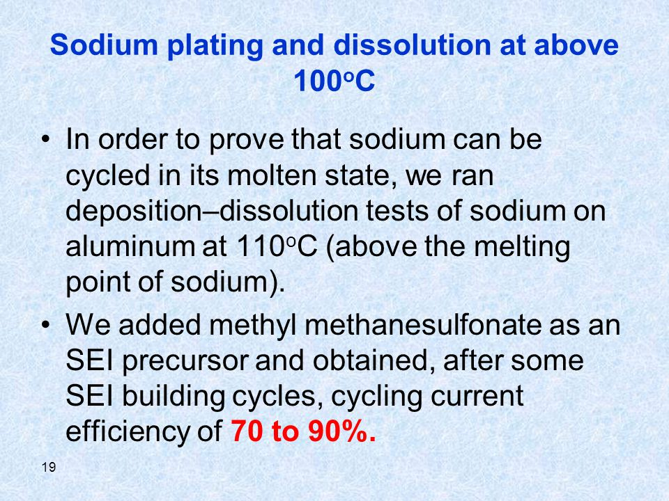 19 Sodium plating and dissolution at above 100 o C In order to prove that sodium can be cycled in its molten state, we ran deposition–dissolution test