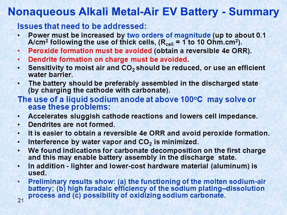 21 Nonaqueous Alkali Metal-Air EV Battery - Summary Issues that need to be addressed: Power must be increased by two orders of magnitude (up to about