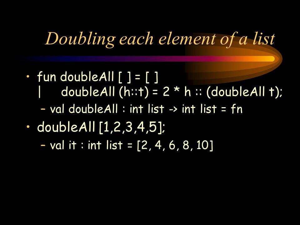 Doubling each element of a list fun doubleAll [ ] = [ ] | doubleAll (h::t) = 2 * h :: (doubleAll t); –val doubleAll : int list -> int list = fn double