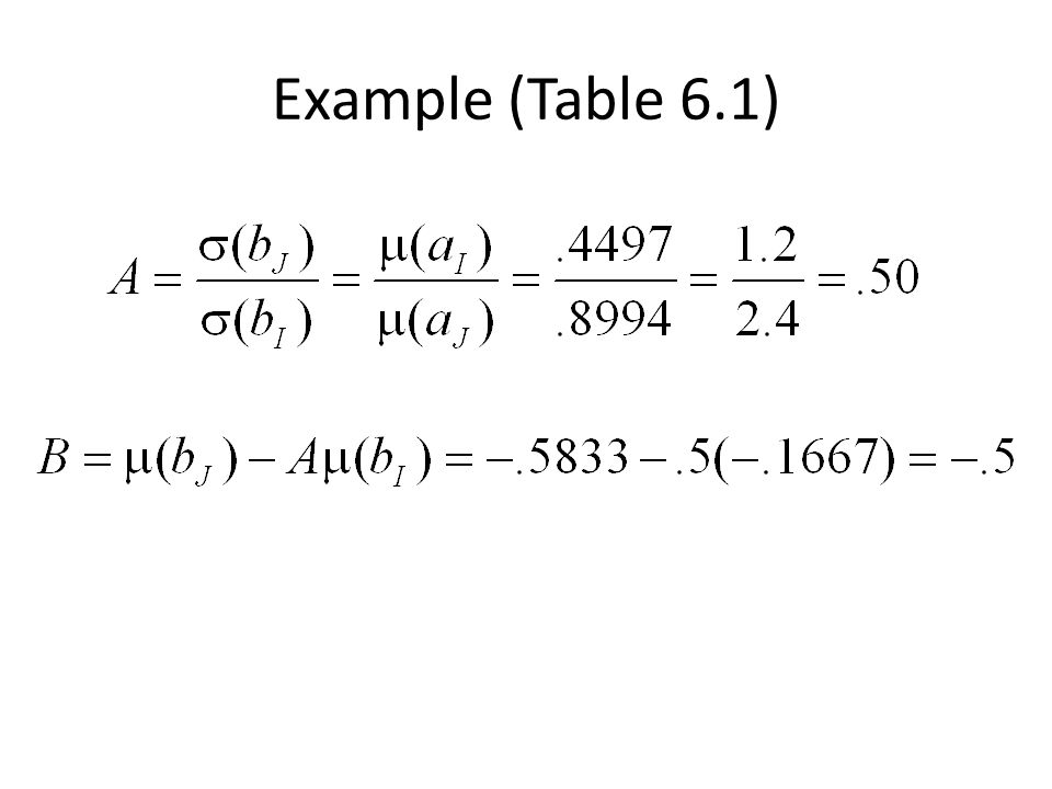 Example (Table 6.1)