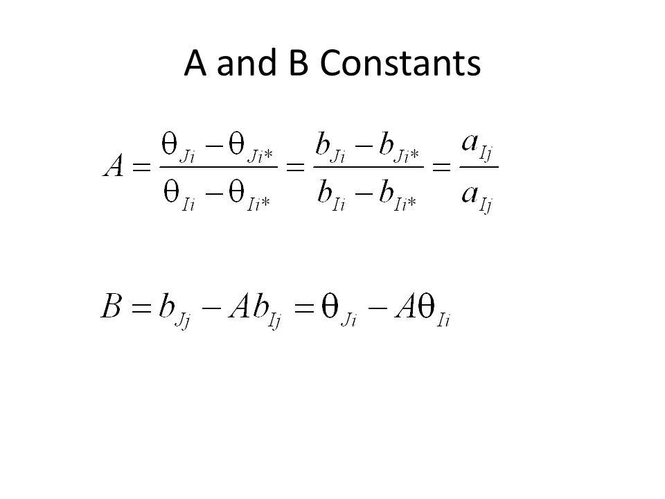 Example (Table 6.1)  Ji = A  Ii + B =.5(-2.00) + (-.5) = -1.5