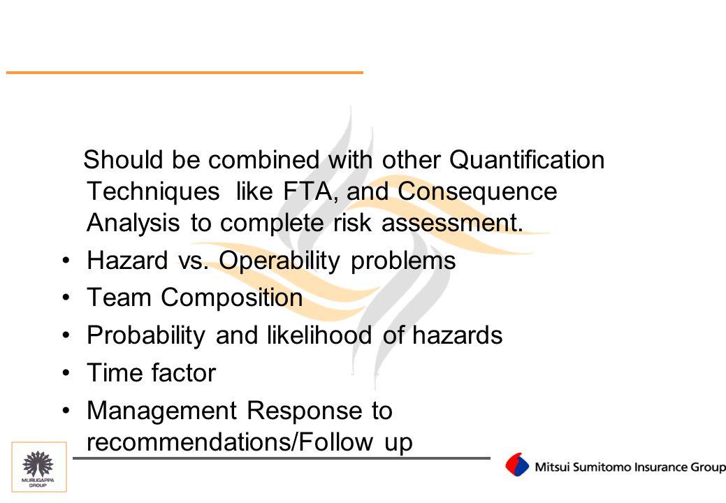 HAZOP-LIMITATIONS Backup pump works- Repair cost of primary pump.