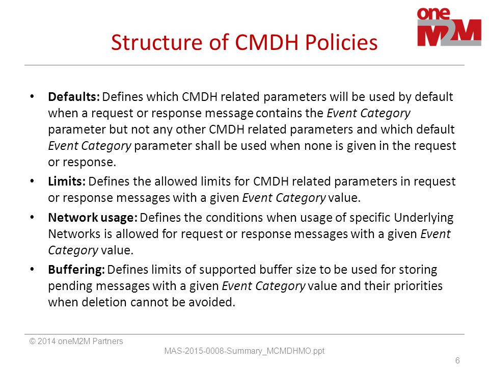 Structure of CMDH Policies Defaults: Defines which CMDH related parameters will be used by default when a request or response message contains the Event Category parameter but not any other CMDH related parameters and which default Event Category parameter shall be used when none is given in the request or response.