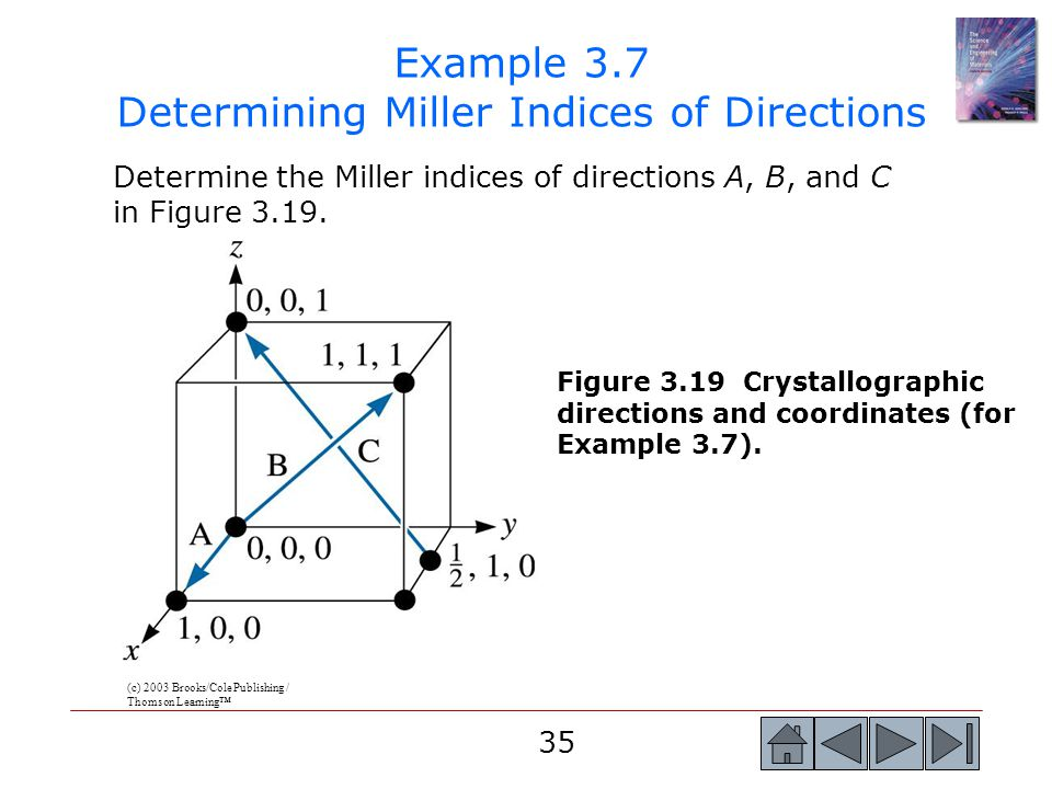 35 Determine the Miller indices of directions A, B, and C in Figure 3.19. Example 3.7 Determining Miller Indices of Directions (c) 2003 Brooks/Cole Pu