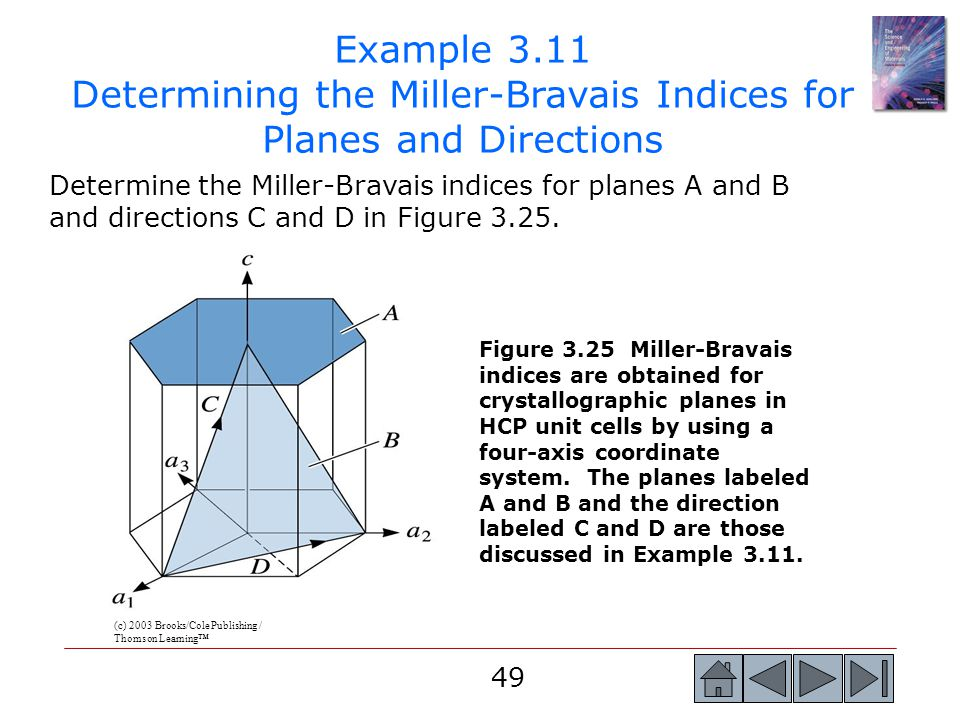 49 Determine the Miller-Bravais indices for planes A and B and directions C and D in Figure 3.25. Example 3.11 Determining the Miller-Bravais Indices