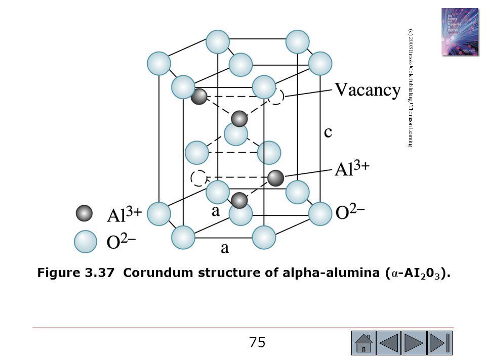 75 (c) 2003 Brooks/Cole Publishing / Thomson Learning Figure 3.37 Corundum structure of alpha-alumina ( α -AI 2 0 3 ).