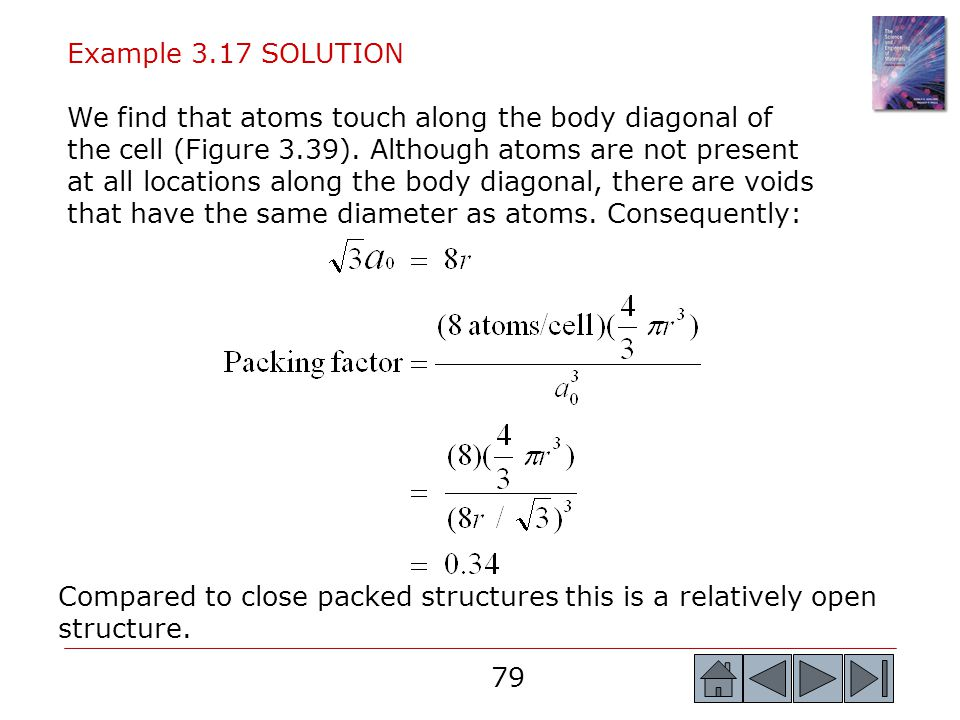 79 Example 3.17 SOLUTION We find that atoms touch along the body diagonal of the cell (Figure 3.39). Although atoms are not present at all locations a
