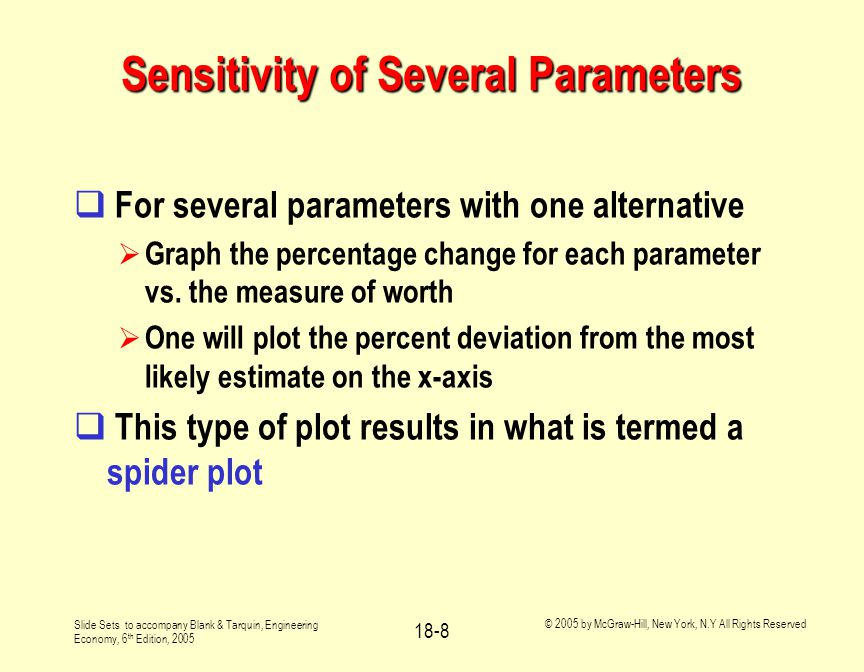 Slide Sets to accompany Blank & Tarquin, Engineering Economy, 6 th Edition, 2005 © 2005 by McGraw-Hill, New York, N.Y All Rights Reserved 18-8 Sensitivity of Several Parameters  For several parameters with one alternative  Graph the percentage change for each parameter vs.