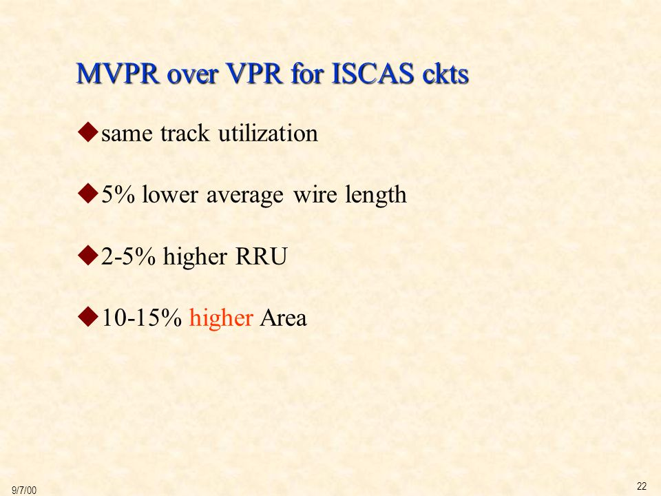 22 9/7/00 MVPR over VPR for ISCAS ckts  same track utilization  5% lower average wire length  2-5% higher RRU  10-15% higher Area