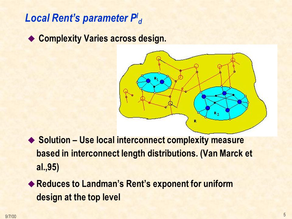 5 9/7/00 Local Rent's parameter P l d u Complexity Varies across design.