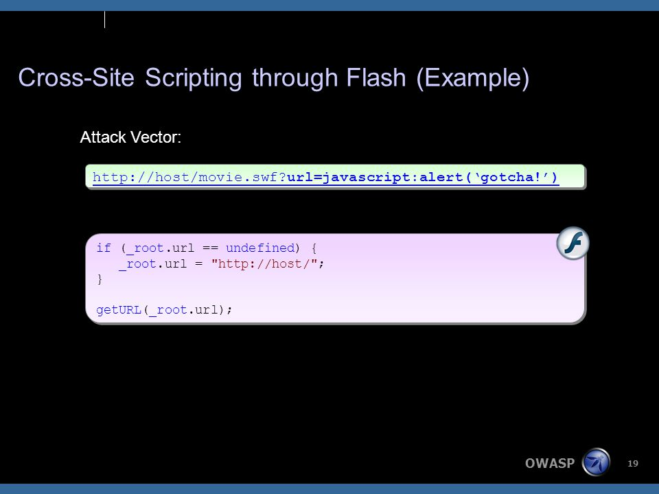 OWASP 19 Cross-Site Scripting through Flash (Example) http://host/movie.swf url=javascript:alert('gotcha!') Attack Vector: if (_root.url == undefined) { _root.url = http://host/ ; } getURL(_root.url); if (_root.url == undefined) { _root.url = http://host/ ; } getURL(_root.url);