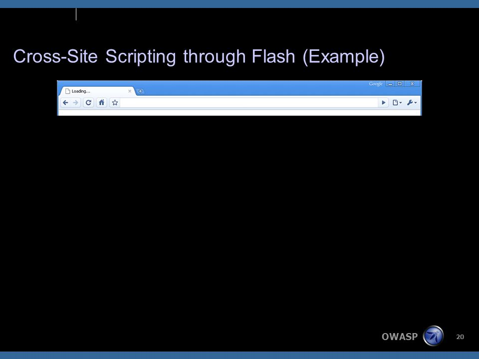 OWASP 20 Cross-Site Scripting through Flash (Example)