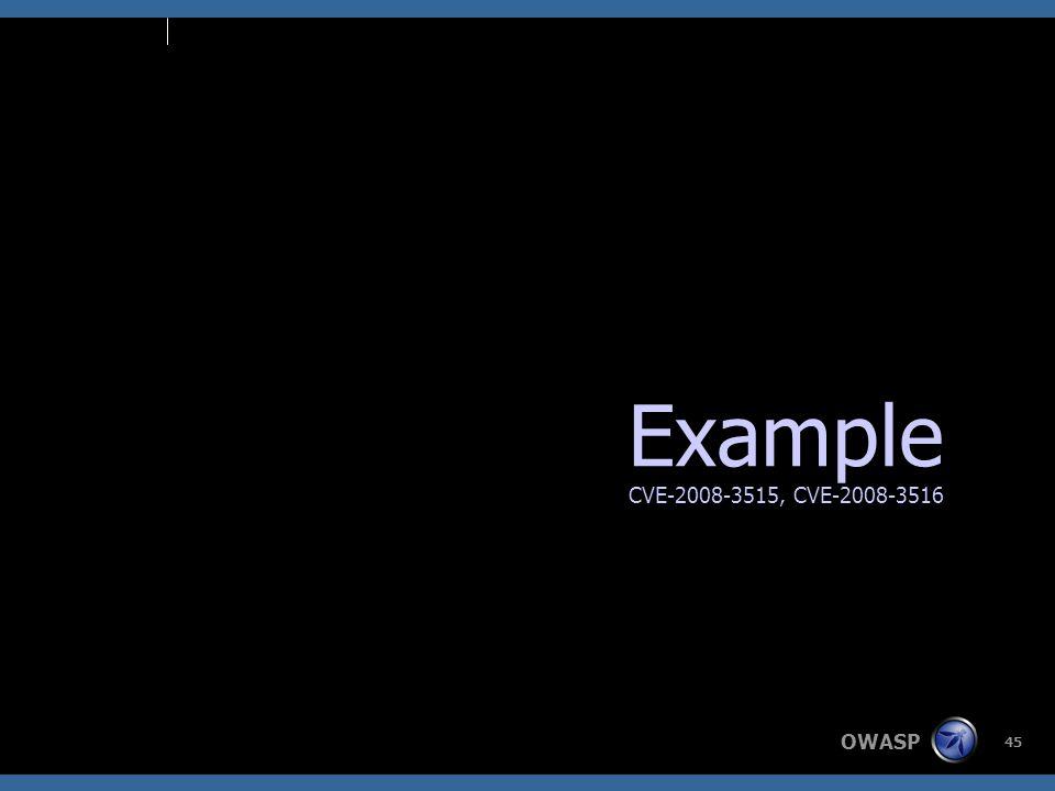 OWASP 45 Example CVE-2008-3515, CVE-2008-3516