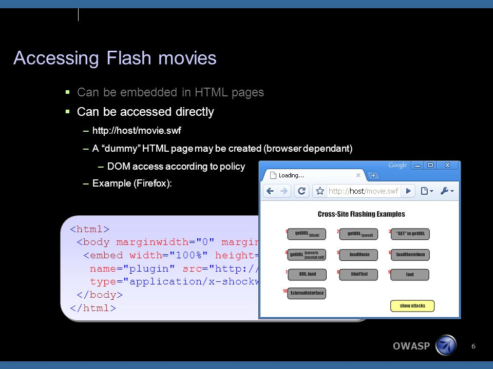 OWASP 6 Accessing Flash movies  Can be embedded in HTML pages  Can be accessed directly –http://host/movie.swf –A dummy HTML page may be created (browser dependant) –DOM access according to policy –Example (Firefox): <embed width= 100% height= 100% name= plugin src= http://host/movie.swf type= application/x-shockwave-flash /> <embed width= 100% height= 100% name= plugin src= http://host/movie.swf type= application/x-shockwave-flash />