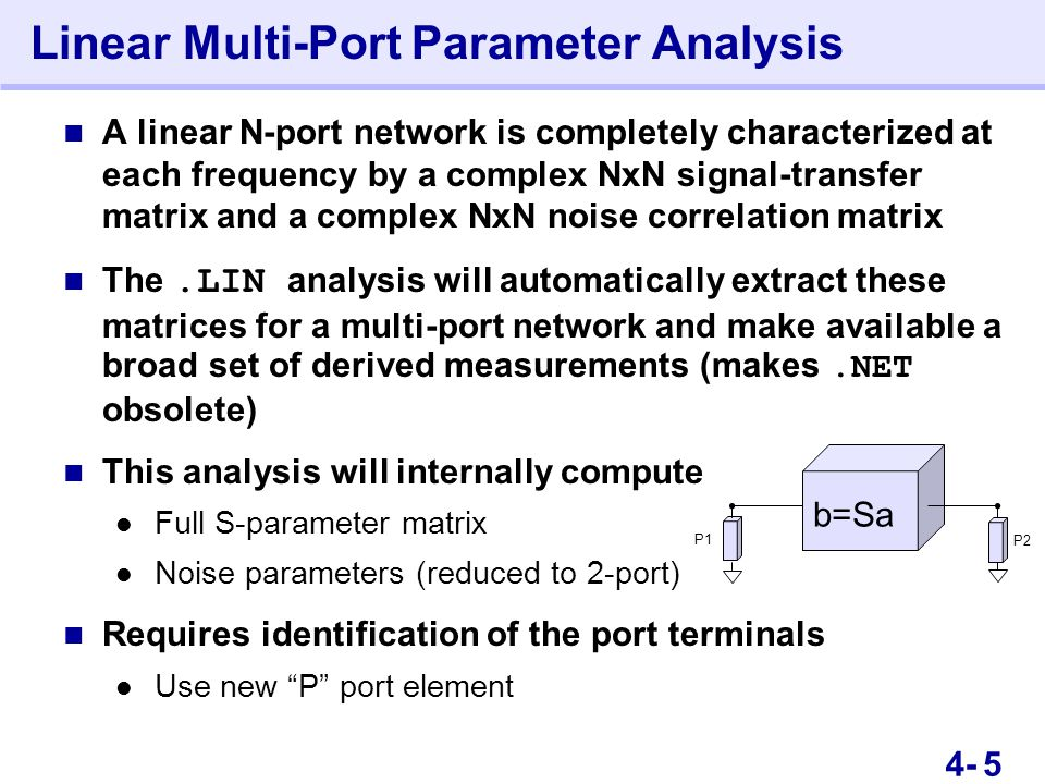 94- Linear Multi-Port Parameter Analysis This is an Instructor Guide page! Switch to Notes view.