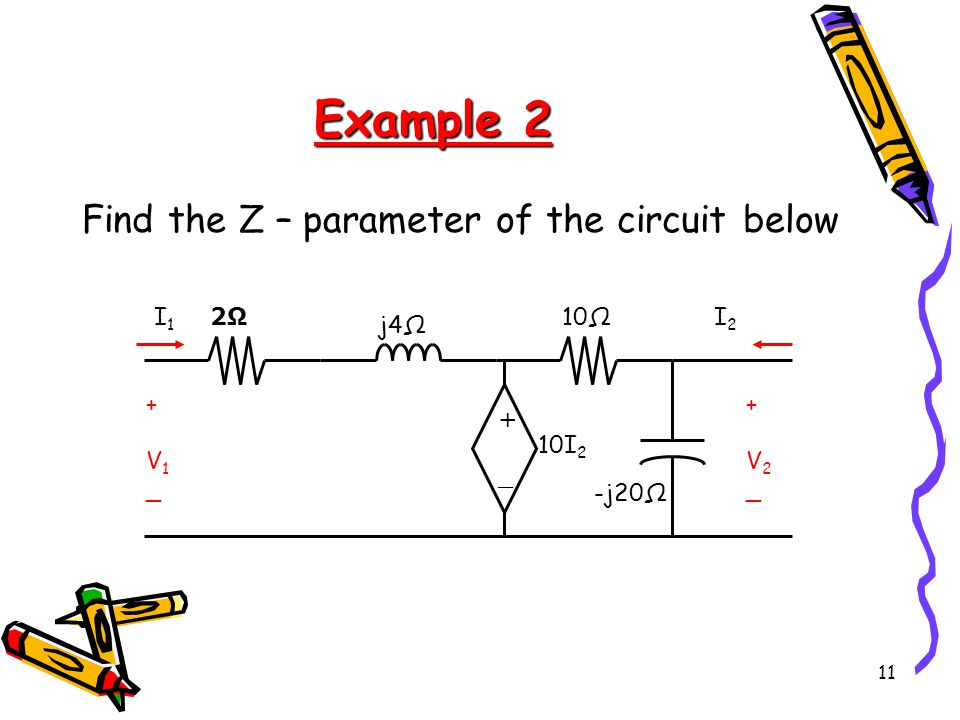 11 Example 2 Find the Z – parameter of the circuit below +_+_ +V1_+V1_ +V2_+V2_ -j20Ω 10Ω j4Ω 2Ω2Ω 10I 2 I2I2 I1I1